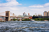 A view of the Brooklyn Bridge over the East River, Manhattan, New York City, USA