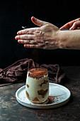 Tiramisu dusted with cocoa