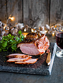 Christmas ham with Whisky and ginger glaze