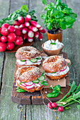 Bagels with cream cheese, radish and cucumber