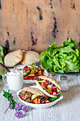 Vegetable salad in pitas