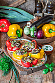 Peppers stuffed with vegetables and beans