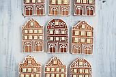 Gingerbread house motif cookies