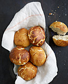 Homemade lye bread rolls