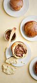 Hommade brioche rolls with chocolate cream