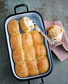 Nut Buchteln (baked, sweet yeast dumplings)