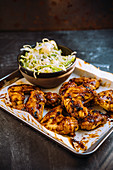 Chili chicken wings with Asian coleslaw