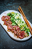 Entrecote beef tataki with sweet and sour cucumbers