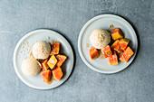 Thai coconut ice cream with sesame seeds