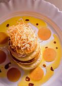 Apple foie gras millefeuille with black radish