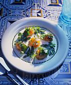 Shrimp in lemon jelly with lemon balm