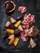 Colourful beets cooked in a salt dough