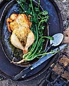 Gegrilltes Hähnchen mit grüner Chili-Knoblauch-Sauce