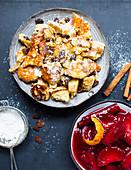 Vegan Kaiserschmarrn with plum compote