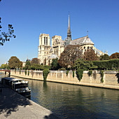 A view over the Seine of the Notre Dame cathedral, Paris, France