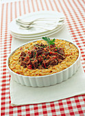 Riso alla campidanese (gratin risotto with beef ragout, Italy)