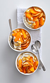 Clementine and cream cheese mousse with pears