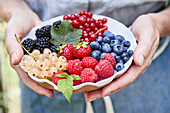 Hands holding a bowl of various fresh berries