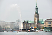 The Inner Alster and the town hall, Hamburg, Germany