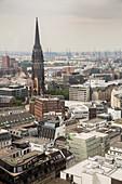 A view of Hamburg city centre with the church of St. Nikolai, Hamburg, Germany