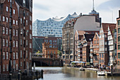 Historical houses on the Deichstrasse in Hamburg, Germany
