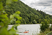 A pedal boat on the Saar, Saarland, Germany