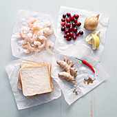 Ingredients for shrimp bread with cranberry chutney