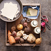 Ingredients for root vegetable tart with cheese