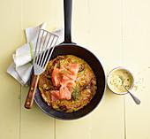 Zucchini röstis with smoked salmon