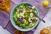 Colorful salad with radishes and egg