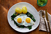 Spinach with fried egg and boiled potatoes