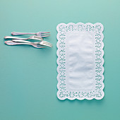 Rectangular doilies and cake forks