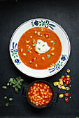 Tomato soup with beans and chilli