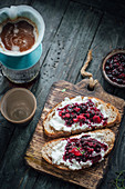 Sourdough toasts with ricotta and berries and filter coffee