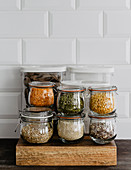 Kitchen jars with beans and groats