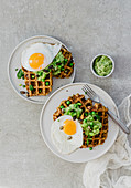 Savoury waffles with pea mash and freid eggs