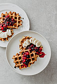 Waffles with forest berries and banana