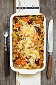Savoy cabbage casserole with dried apricots