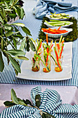 Pinzimonio di verdure (vegetable sticks with dips, Italy)