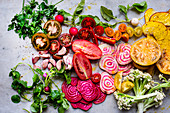 Various colourful vegetables, sliced