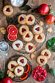 Blood orange cookies (Linzer type)