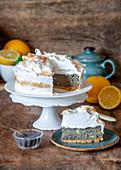 Meringue poppy seed cake