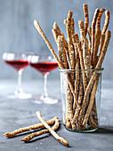 Homemade sesame breadsticks