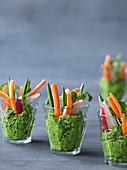 Vegetable sticks with a mint dip