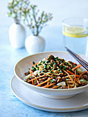Nudeln mit Gemüse und Hackfleisch chinesische Art