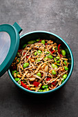 Japanese soba noodle salad with edamame beans to take away