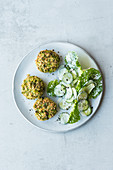 Broccoli fritters with a cucumber salad