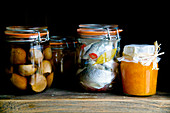 Jars of preserves and pickles