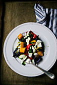Plate of roast vegetables and mozzarella