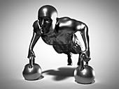Man doing kettlebell workout, illustration